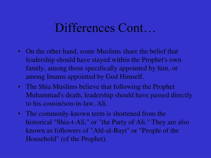 Differences Cont…