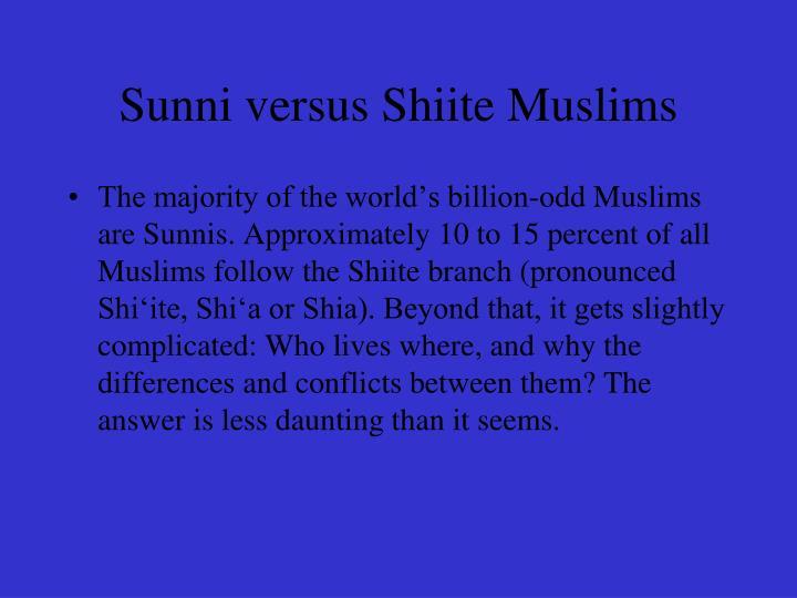 Sunni versus Shiite Muslims