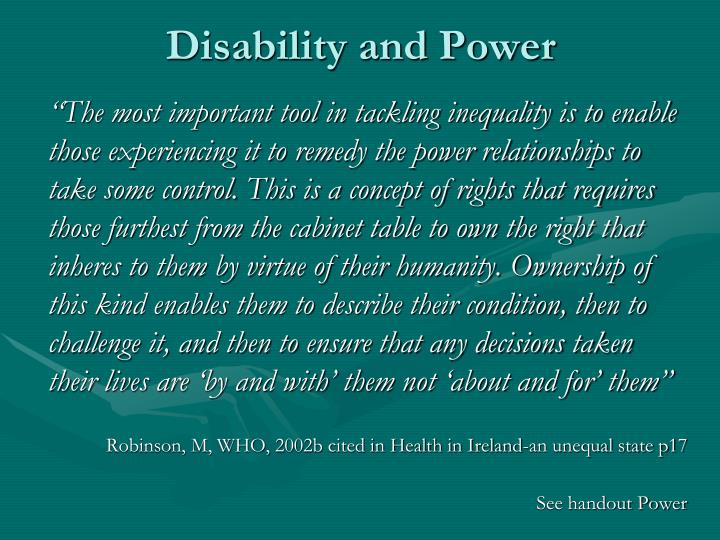 Disability and Power