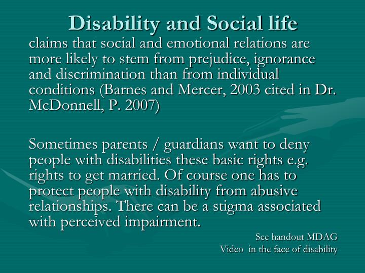 Disability and Social life