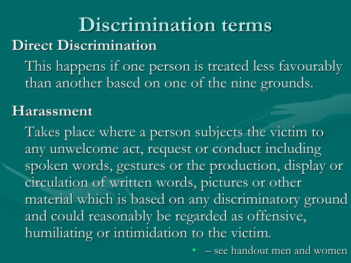 Discrimination terms