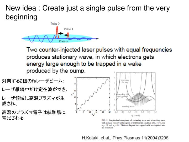 New idea : Create just a single pulse from the very beginning