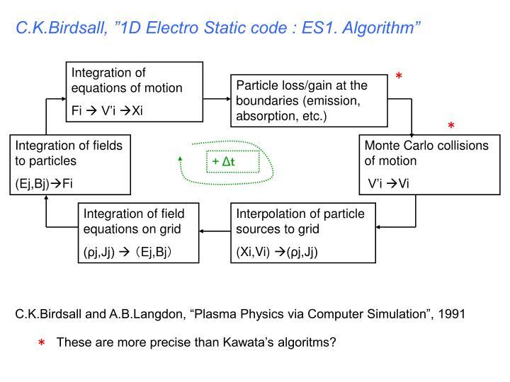 "C.K.Birdsall, ""1D Electro Static code : ES1. Algorithm"""