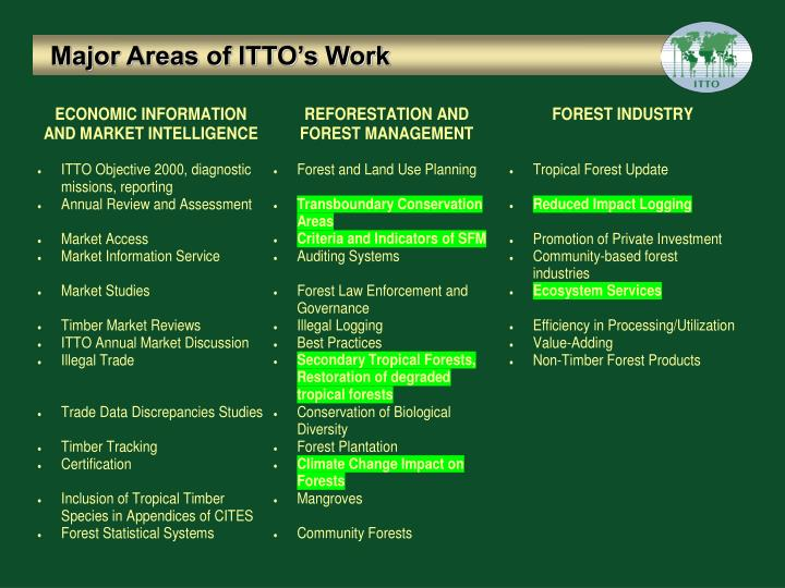 Major Areas of ITTO's Work