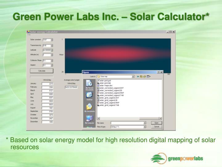 Green Power Labs Inc. – Solar Calculator*