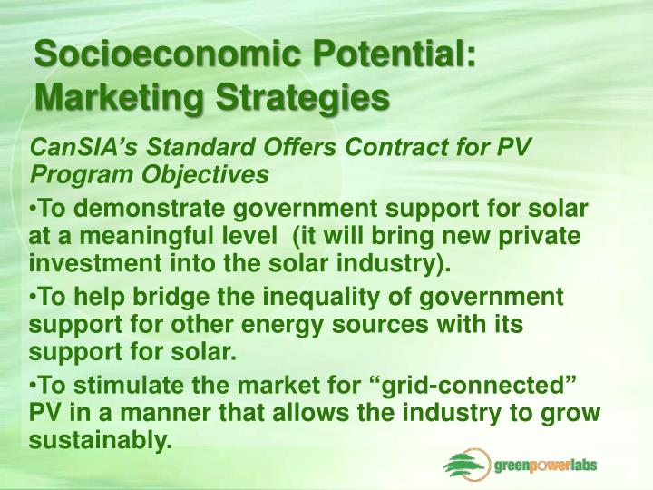 Socioeconomic Potential: Marketing Strategies