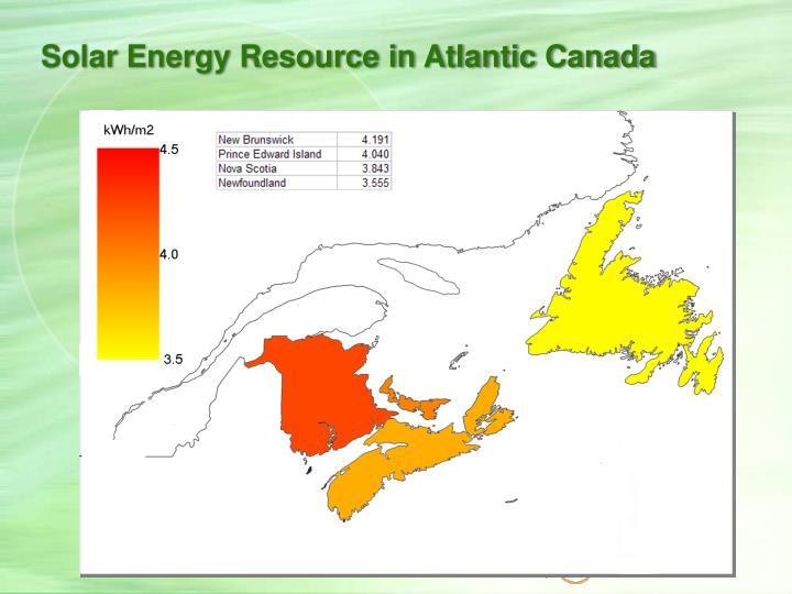 Solar Energy Resource in Atlantic Canada