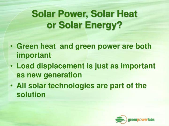 Solar Power, Solar Heat