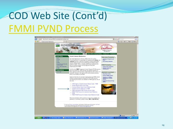 COD Web Site (Cont'd)