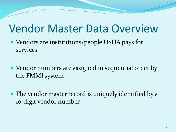 Vendor Master Data Overview