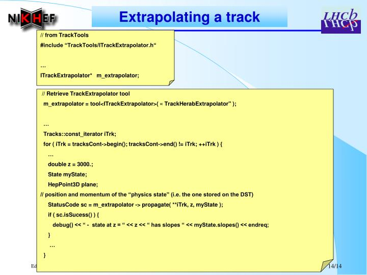 Extrapolating a track