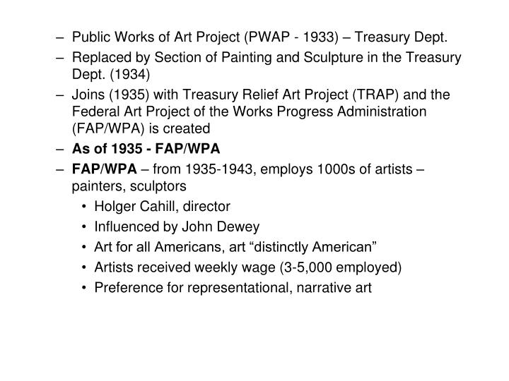 Public Works of Art Project (PWAP - 1933) – Treasury Dept.