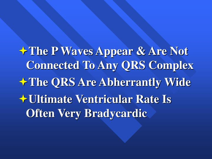 The P Waves Appear & Are Not Connected To Any QRS Complex