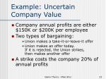 example uncertain company value
