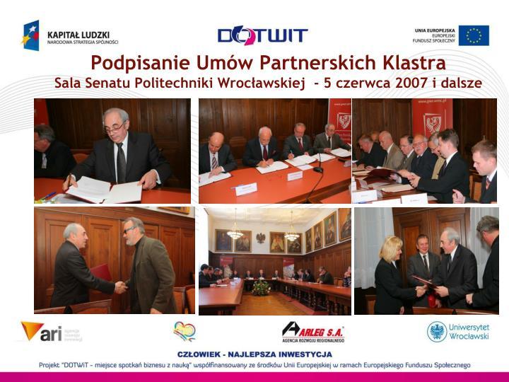 Podpisanie Umów Partnerskich Klastra