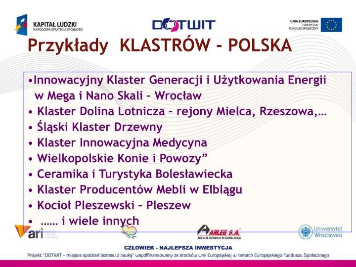 Przykłady  KLASTRÓW - POLSKA
