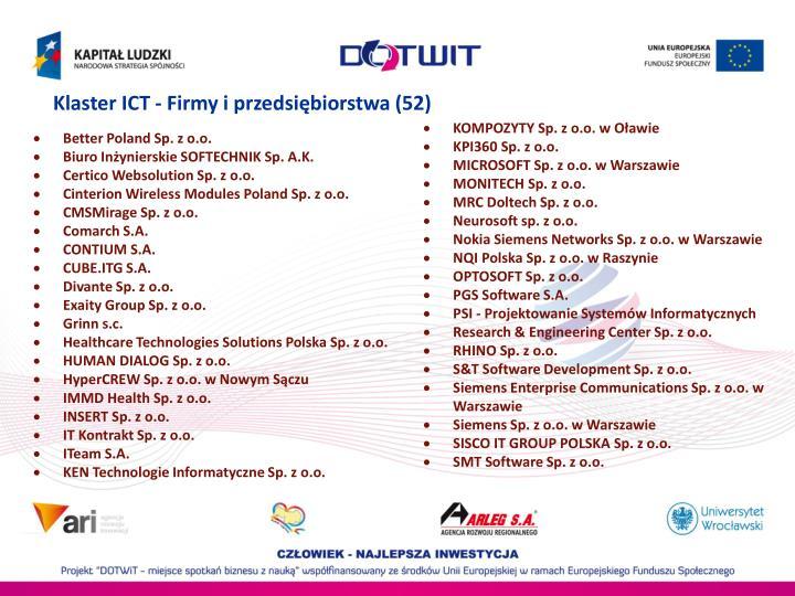 Klaster ICT - Firmy i przedsiębiorstwa (52)