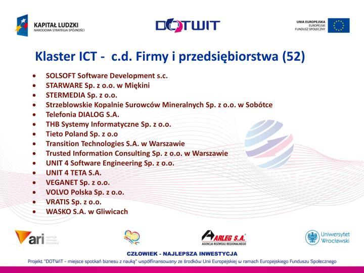 Klaster ICT -  c.d. Firmy i przedsiębiorstwa (52)