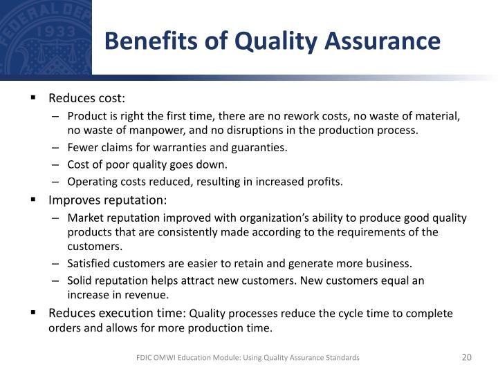 Benefits of Quality Assurance