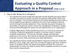 evaluating a quality control approach in a proposal slide 2 of 2