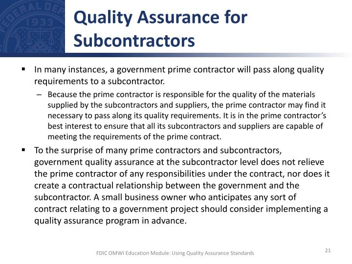 Quality Assurance for Subcontractors