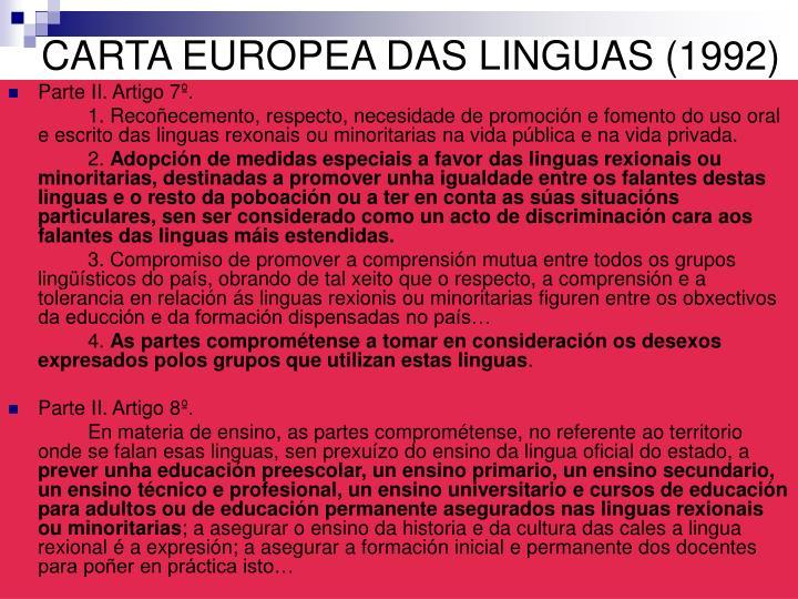 CARTA EUROPEA DAS LINGUAS (1992)