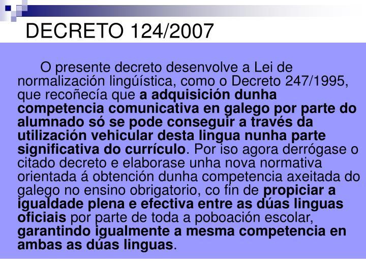DECRETO 124/2007