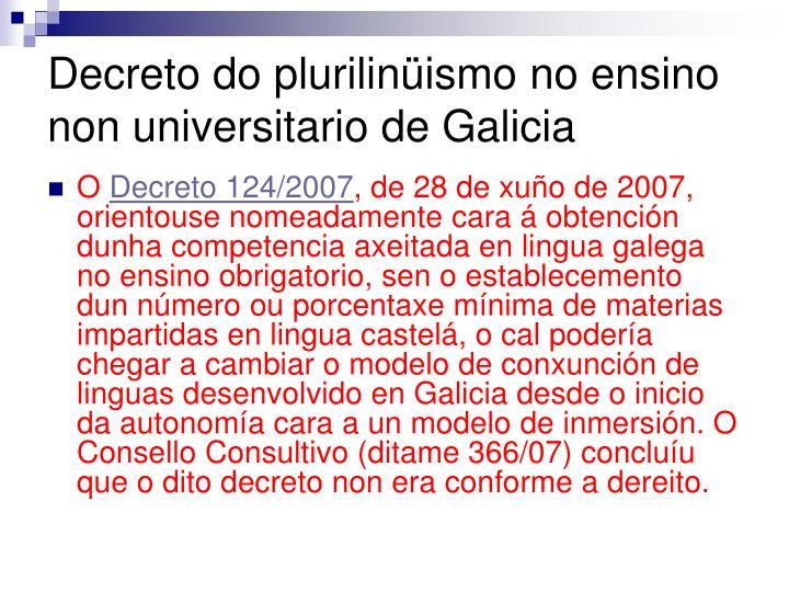 Decreto do plurilinüismo no ensino non universitario de Galicia