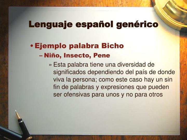 Lenguaje español genérico