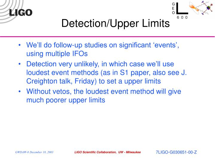Detection/Upper Limits