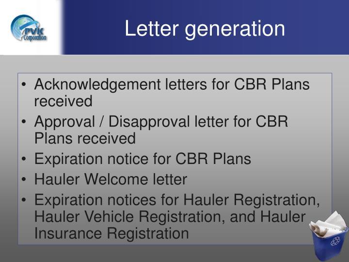 Letter generation