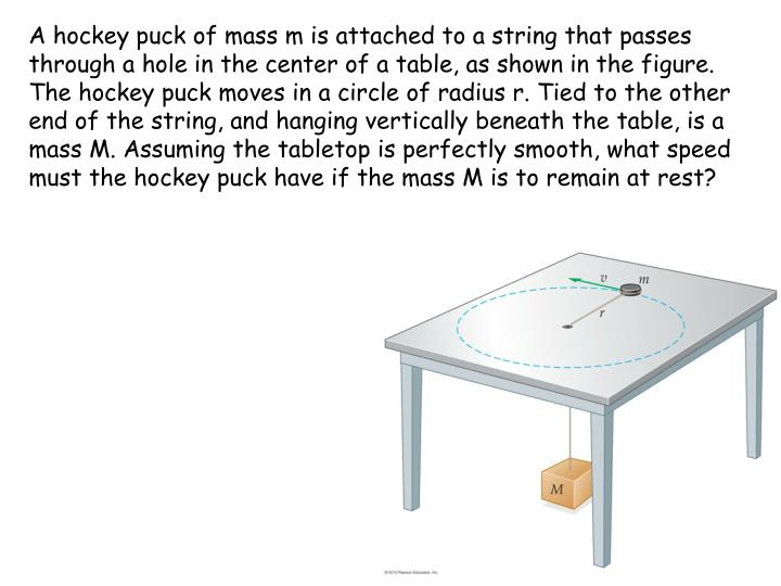 A hockey puck of mass m is attached to a string that passes through a hole in the center of a table, as shown in the figure. The hockey puck moves in a circle of radius r. Tied to the other end of the string, and hanging vertically beneath the table, is a mass M. Assuming the tabletop is perfectly smooth, what speed must the hockey puck have if the mass M is to remain at rest?