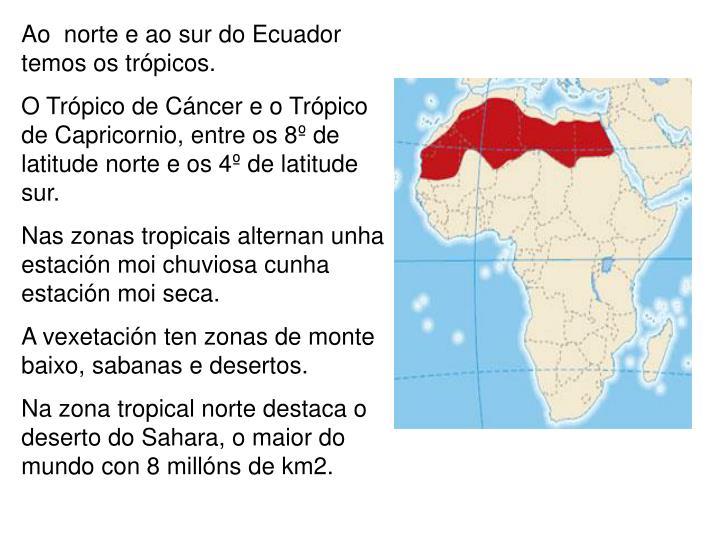Ao  norte e ao sur do Ecuador temos os trópicos.