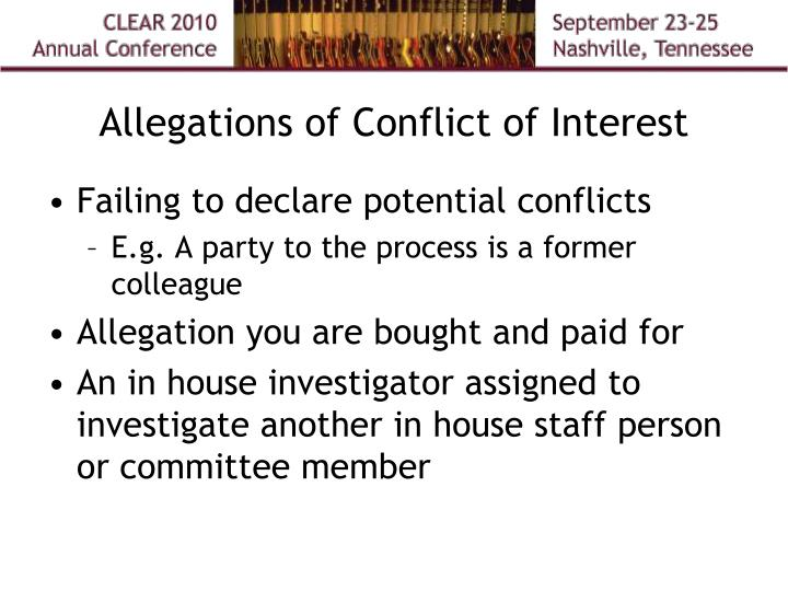 Allegations of Conflict of Interest