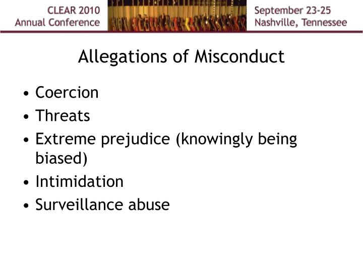 Allegations of Misconduct