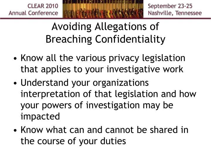 Avoiding Allegations of