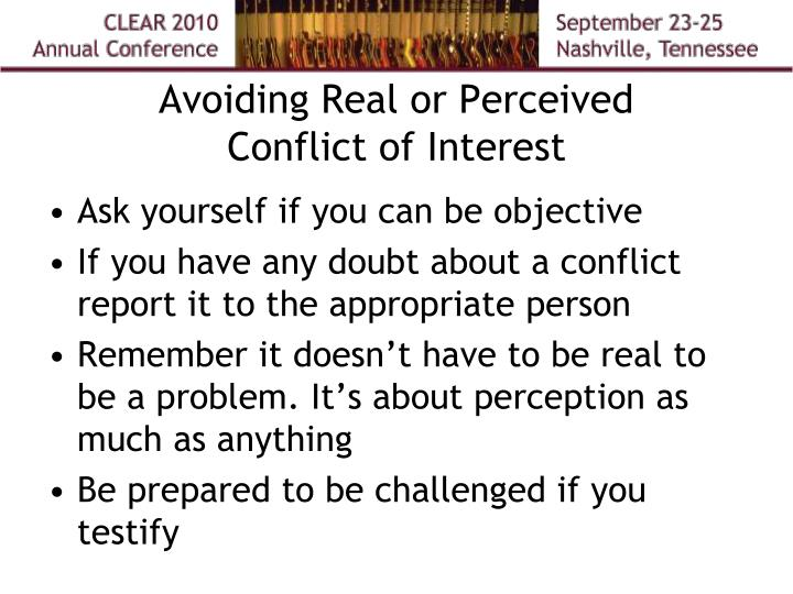 Avoiding Real or Perceived