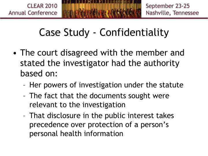 Case Study - Confidentiality