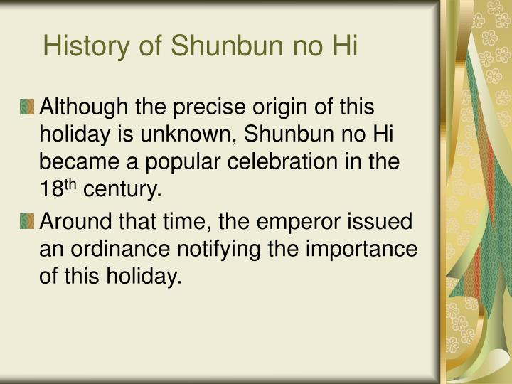 History of Shunbun no Hi