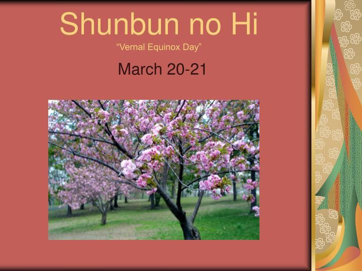 Shunbun no hi vernal equinox day