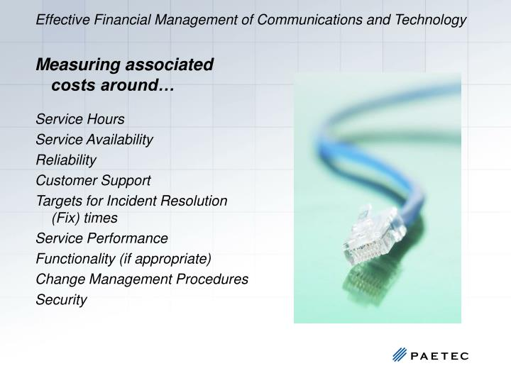 Effective Financial Management of Communications and Technology
