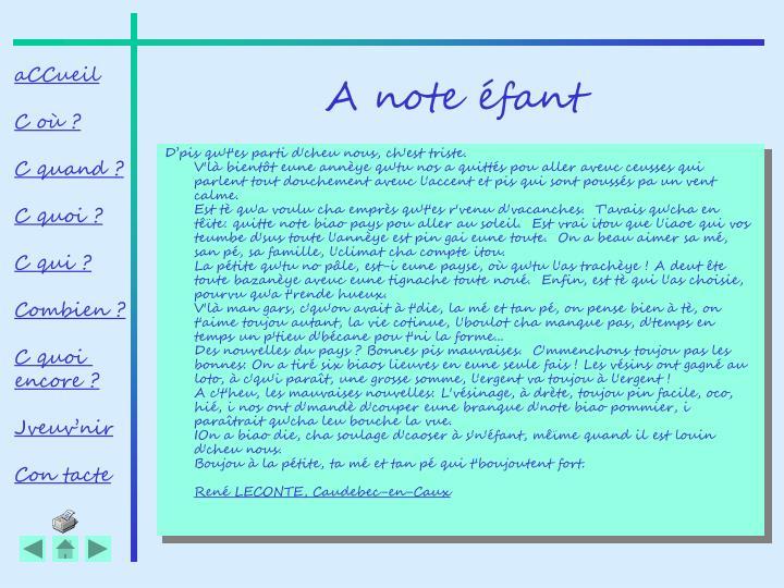 A note éfant