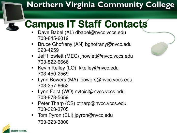 Campus IT Staff Contacts