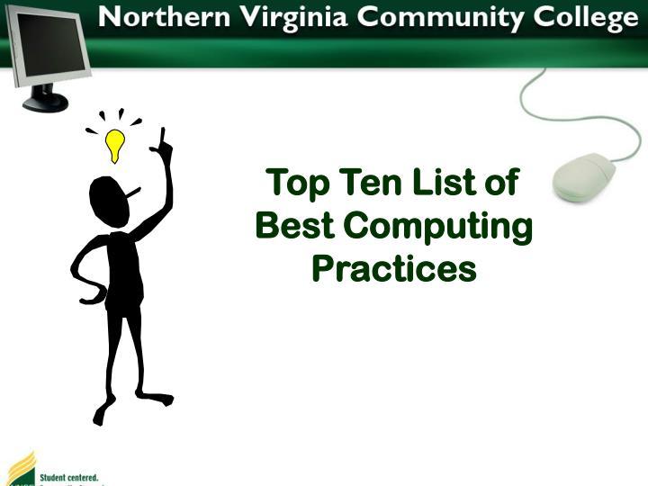 Top Ten List of