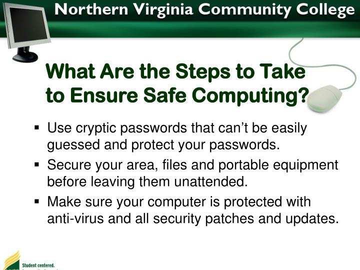 What Are the Steps to Take to Ensure Safe Computing?
