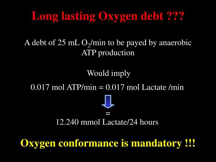 Long lasting Oxygen debt ???