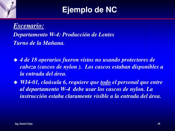 Ejemplo de NC