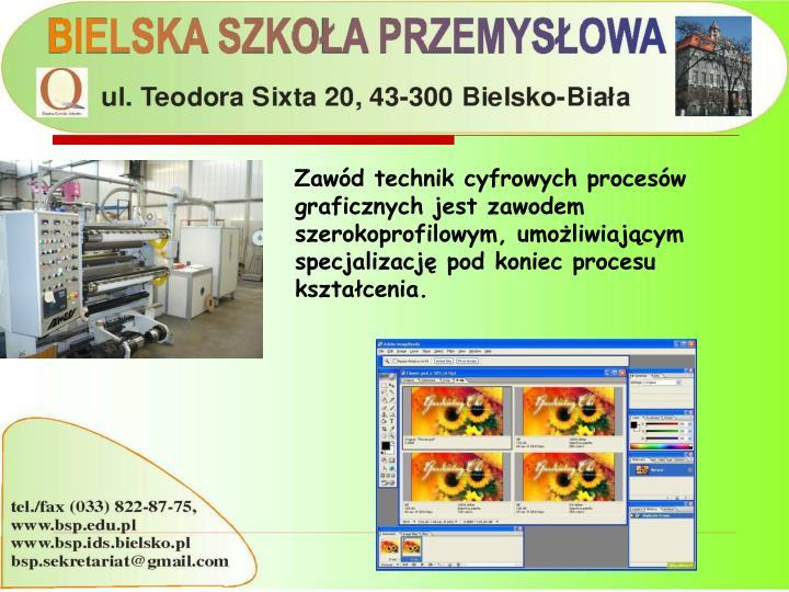 Zawód technik cyfrowych procesów graficznych jest zawodem szerokoprofilowym, umożliwiającym specjalizację pod koniec procesu kształcenia.