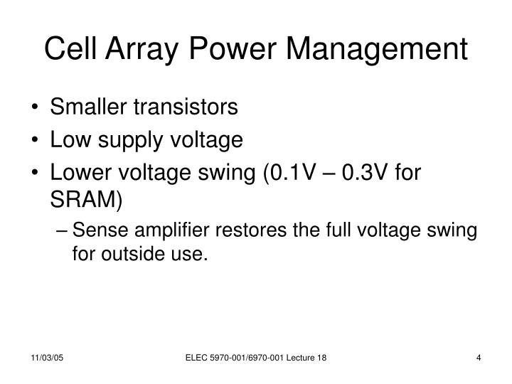 Cell Array Power Management