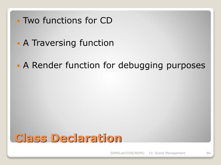 Two functions for CD